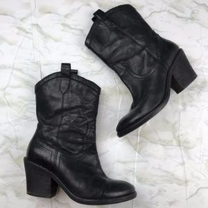 Sam Edelman Black Leather Nile Ankle Boot Size 8